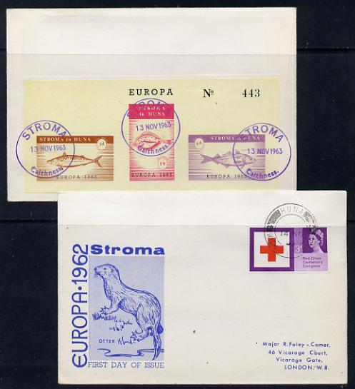 Stroma 1963 Europa imperf sheetlet containing fish set of 3 on cover to London correctly cancelled in Stroma and carried to Huna, front shows Great Britain Red Cross 3d stamp cancelled Huna for normal UK delivery. Note: I have several of these covers so the one you receive may be slightly different to the one illustrated