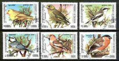 Cambodia 1999 Song Birds complete set of 6 values fine cto used*