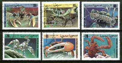 Sahara Republic 1999 Crabs complete set of 6 values fine cto used*, stamps on marine life, stamps on crabs