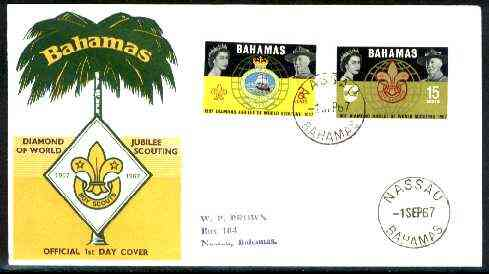 Bahamas 1967 Diamond Jubilee of World Scouting set of 2 on Official illustrated cover with first day cancel