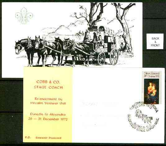 New Zealand 1972 Re-enactment of Dunedin to Alexandra Stagecoach run by Pitcairn Venturer Scouts commemorative card with special