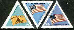 Cinderella - Rattlesnake Island (USA) 1976 US Bicentenary (Flags) set of 3 triangulars unmounted mint