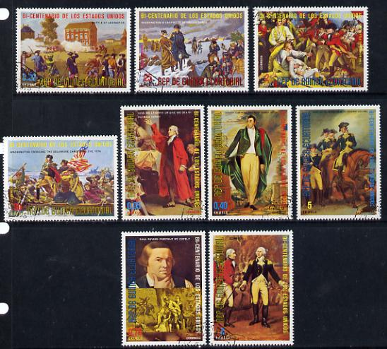 Equatorial Guinea 1975 USA Bicentenary (1st issue - Paintings of US history) set of 9 cto used*