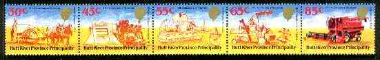 Cinderella - Hutt River Province 1984 14th Anniversary of Secession unmounted mint strip of 5 (Farm Machinery)
