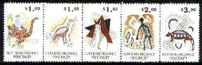 Cinderella - Hutt River Province 198? Aboriginal & Caveman Drawings unmounted mint strip of 5