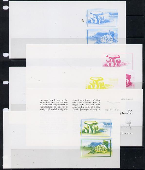 Booklet - Lesotho 1983 Fungi 10s & 30s values in booklet pane x 5 imperf progressive proofs comprising the 4 individual colours plus yellow & blue, scarce (as SG 532c)