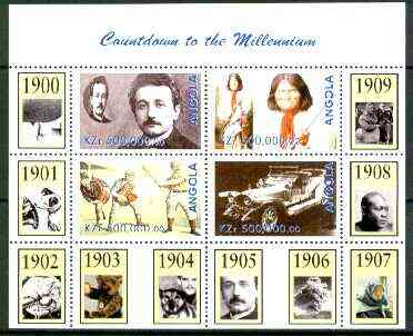 Angola 1999 Countdown to the Millennium #01 (1900-1909) perf sheetlet containing 4 values (Einstein, Rolls Royce, Geronimo, Baseball) unmounted mint