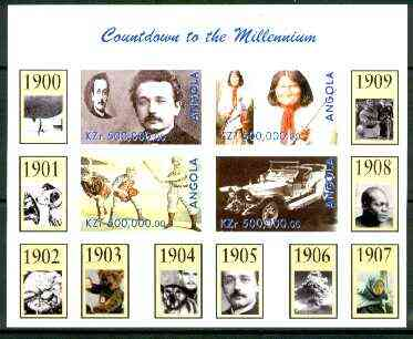 Angola 1999 Countdown to the Millennium #01 (1900-1909) imperf sheetlet containing 4 values (Einstein, Rolls Royce, Geronimo, Baseball) unmounted mint
