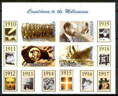 Angola 1999 Countdown to the Millennium #02 (1910-1919) imperf sheetlet containing 4 values (Girl Guides, Du Bois, Buffalo Bill & Titanic) unmounted mint
