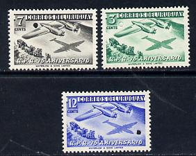 Uruguay 1949 Universal Postal Union Anniversary (Boeing Aeroplane over Mailcoach) set of 3 each with tiny security puncture (Waterlow & Sons Specimen) unmounted mint