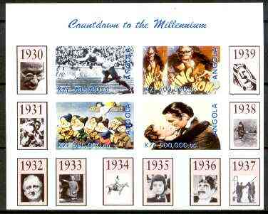 Angola 1999 Countdown to the Millennium #04 (1930-1939) imperf sheetlet containing 4 values (Jesse Owens, King Kong, Snow White & Gone With the Wind) unmounted mint, stamps on personalities, stamps on cartoons, stamps on aviation, stamps on films, stamps on cinema, stamps on sport, stamps on disney, stamps on gandhi, stamps on cultures, stamps on bridges, stamps on spitfires, stamps on  ww2 , stamps on apes, stamps on millennium