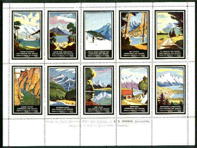 New Zealand - Tourism sheetlet containing 10 perf labels depicting various views (produced for A R Skinner)