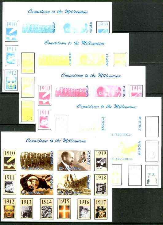 Angola 1999 Countdown to the Millennium #02 (1910-1919) sheetlet containing 4 values (Girl Guides,Du Bois, Buffalo Bill & Titanic) the set of 5 imperf progressive proofs ...
