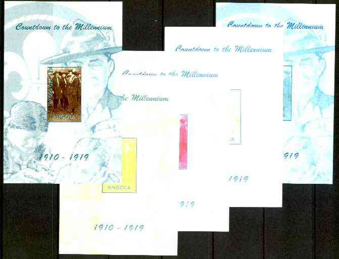 Angola 1999 Countdown to the Millennium #02 (1910-1919) souvenir sheet (Girl Guides & Scouting) the set of 5 imperf progressive proofs comprising various 2,3 & 4-colour c...