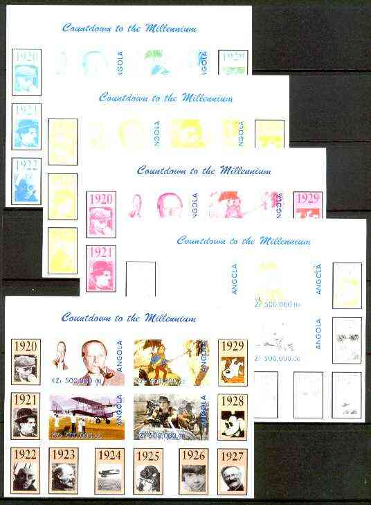 Angola 1999 Countdown to the Millennium #03 (1920-1929) sheetlet containing 4 values (A A Milne, Tintin, Flying Doctors & Ben Hur) the set of 5 imperf progressive proofs ...