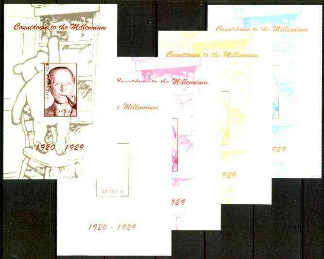 Angola 1999 Countdown to the Millennium #03 (1920-1929) souvenir sheet (A A Milne & Winnie the Pooh) the set of 5 imperf progressive proofs comprising various 2,3 & 4-colour combinations plus all 5 colours unmounted mint