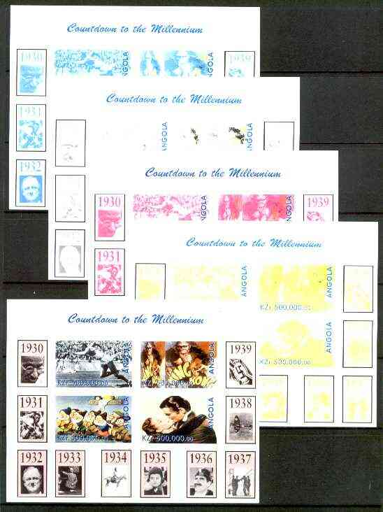 Angola 1999 Countdown to the Millennium #04 (1930-1939) sheetlet containing 4 values (J Owens, King Kong, Snow White & Gone With the Wind) the set of 5 imperf progressive proofs comprising various 2,3 & 4-colour combinations plus all 5 colours unmounted mint