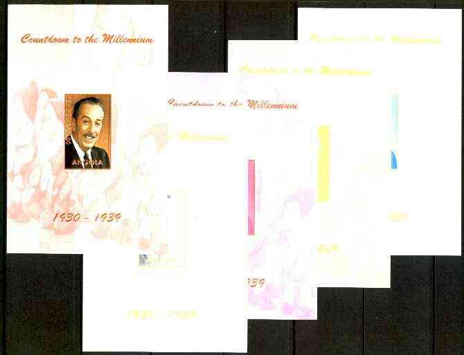 Angola 1999 Countdown to the Millennium #04 (1930-1939) souvenir sheet (Walt Disney & 7 Dwarfs) the set of 5 imperf progressive proofs comprising various 2,3 & 4-colour c...