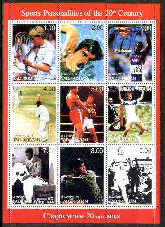 Tadjikistan 1999 Sports Personalities of the 20th Century perf sheetlet containing complete set of 9 values unmounted mint
