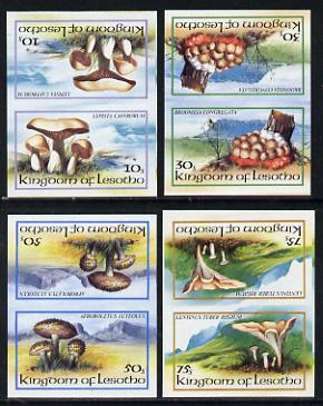 Lesotho 1983 Fungi set of 4 in unmounted mint imperf tete-beche pairs (SG 532a-5a)