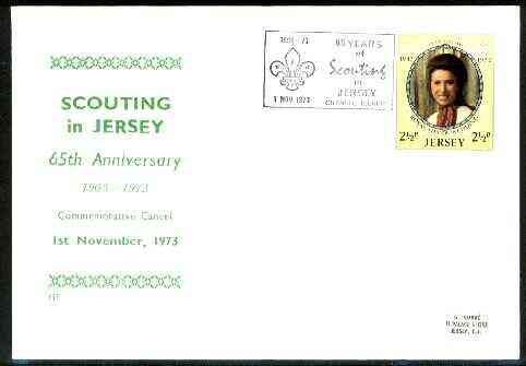 Jersey 1973 Commemorative cover for 65th Anniversary of Scouting in Jersey with special illustrated cancel