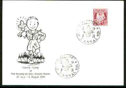 Norway 1970 Commemorative card for Kretsleiren County Scout Camp with special illustrated cancel