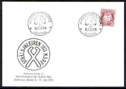 Norway 1973 Commemorative card for Str�lsj�en National Guide Camp with special illustrated cancel