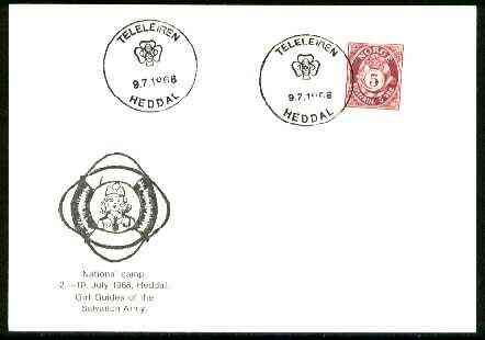 Norway 1968 Commemorative card for Heddal National Girl Guide Camp with special illustrated cancel