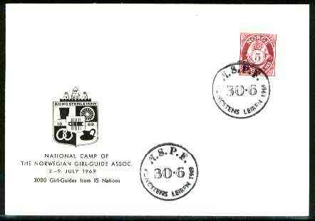 Norway 1969 Commemorative card for Leiren National Girl Guide Camp with special illustrated cancel