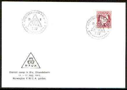 Norway 1972 Commemorative card for Bru District YWCA Girl Guide Camp with special illustrated cancel