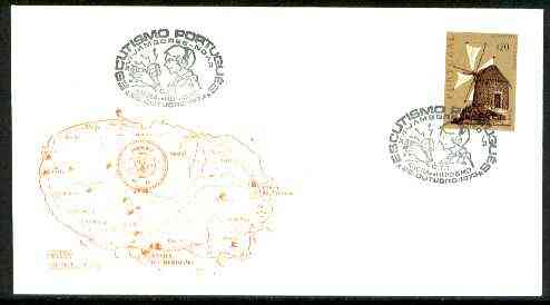Portugal 1973 illustrated cover (Map) for 16th Angra Scout Jamboree, 20c Windmill stamp with special 'Broadcast' cancel