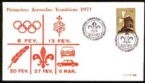 Portugal 1973 Commemorative cover with 20c Windmill stamp with Special 'Scout Day' first day cancel