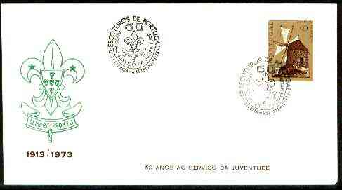 Portugal 1973 Commemorative cover for 60 Years of Scouting with 20c Windmill stamp with Special  cancel