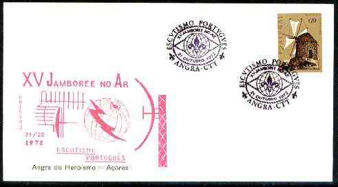 Portugal 1972 illustrated cover (Aerials) for 15th Angra Scout Jamboree, 20c Windmill stamp with special cancel