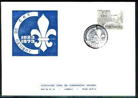 Portugal 1973 commemorative cover for 50 Years of Scouting with illustrated cancel