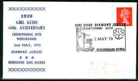 Great Britain 1970 Commemorative cover for Crowthorne Guide Diamond Jubilee with special illustrated (Deer) cancel