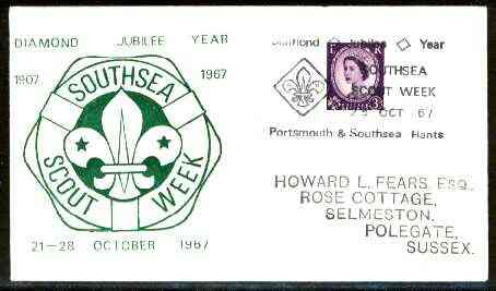 Great Britain 1967 Commemorative cover for Southsea Scout Week with special illustrated cancel