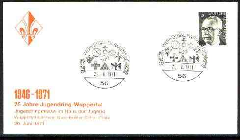 Germany - West 1971 Commemorative cover for 25th Anniversary Wuppertal Scouts with special illustrated cancel