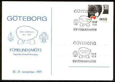 Sweden 1971 Commemorative card for G�teborg Scout Anniversary with special illustrated cancel