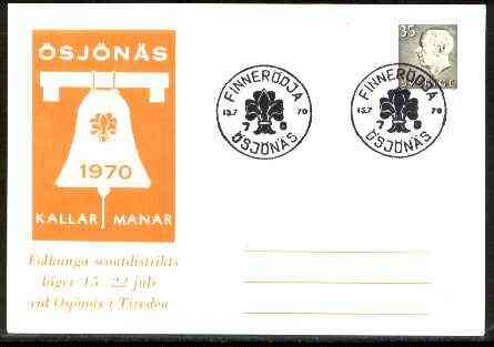 Sweden 1970 Commemorative card for \85sj\9An\8As Scouts with special illustrated cancel
