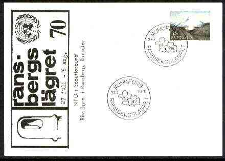 Sweden 1970 Commemorative card for Ransbergsl�gret Scouts with special illustrated cancel, stamps on scouts