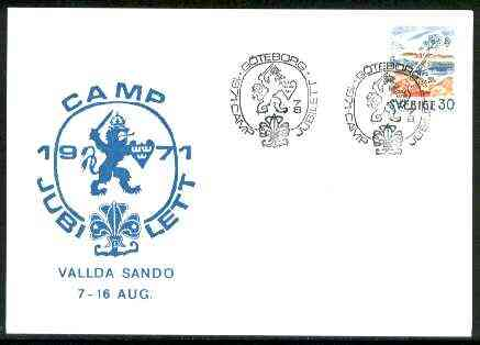 Sweden 1971 Commemorative card for G�teborg Scout Camp Jubilett with special illustrated cancel, stamps on scouts