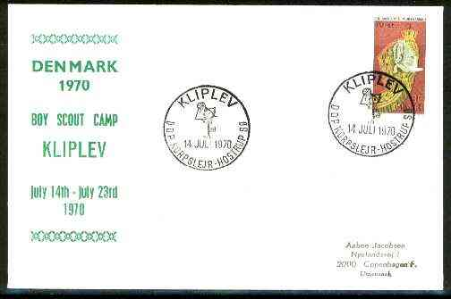 Denmark 1970 Commemorative cover for Kliplev Scout Camp with special illustrated cancel