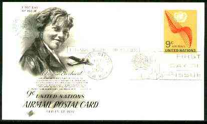 United Nations (NY) 1972 Amelia Earhart 9c illustrated postal stationery card with first day cancel
