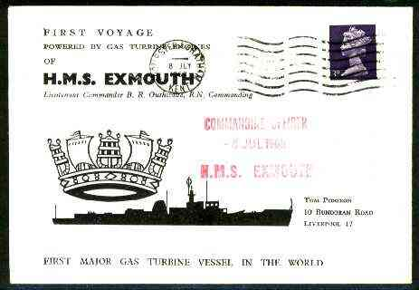 Great Britain 1968 Commemorative cover for first voyage of HMS Exmouth (first major gas-turbine vessel)