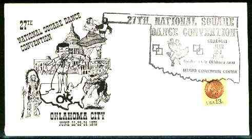 United States 1978 illustrated cover for 27th National Square Dance Convention with special illustrated cancel