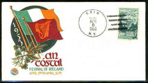 United States 1953 illustrated cover for Festival of Ireland with ERIN (NY) cancel