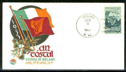 United States 1953 illustrated cover for Festival of Ireland with IRELAND (W VA) cancel