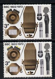 Great Britain 1972 Broadcasting Anniversaries 3p (Microphones) unmounted mint single with shift of yellow appearing as a missing colour, plus shift of the Queen
