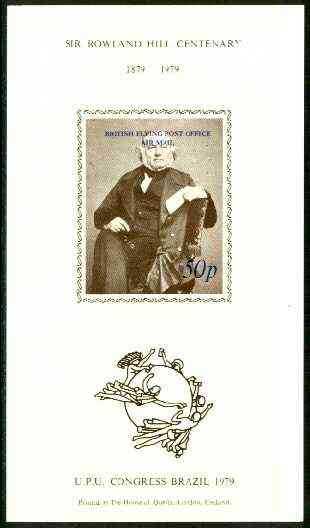 Brazil 1979 UPU Rowland Hill imperf souvenir sheet overprinted 'British Flying Post Office, Air Mail 50p' in blue unmounted mint